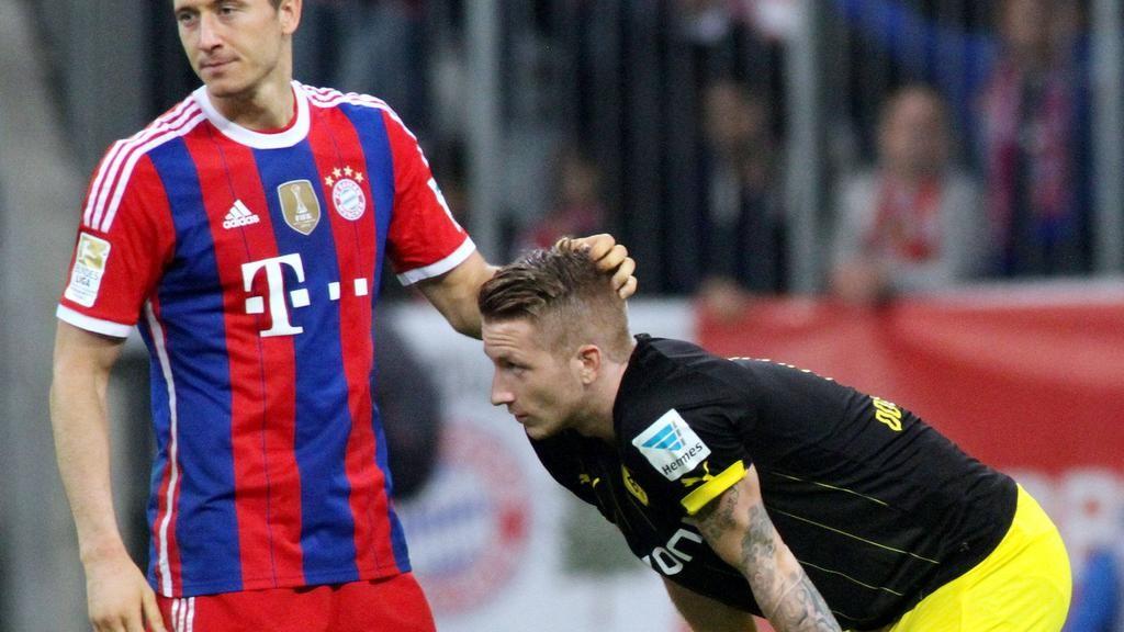 Robert Lewandowski FC Bayern München tröstet Marco Reus Borussia Dortmund Fussball Allianz A