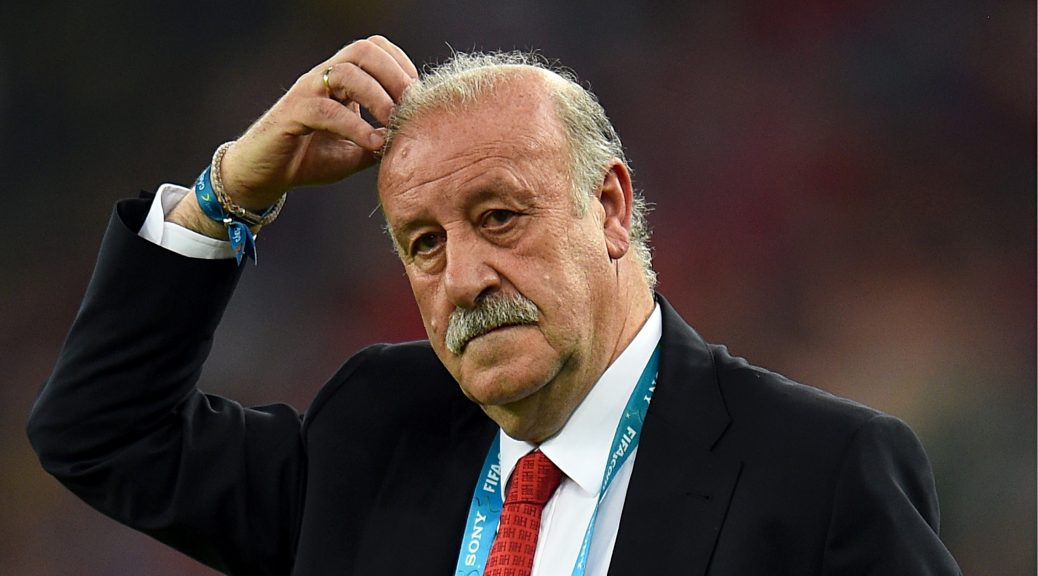 Vicente del Bosque looks on in despair during Spain's 2-0 defeat by Chile in the World Cup.