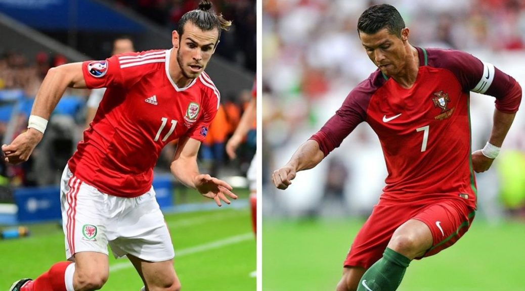 A combination made on July 4  2016 shows two file pictures  one of Portugal s forward and captain Cristiano Ronaldo  R  in Lisbon on June 8  2016 and the other of Wales  forward Gareth Bale on July 1  2016 in Villeneuve-d Ascq  Portugal faces Wales in the first Euro 2016 semi-final football match in Paris on July 6  2016 in Lyon    AFP PHOTO   PATRICIA DE MELO MOREIRA AND Emmanuel DUNAND