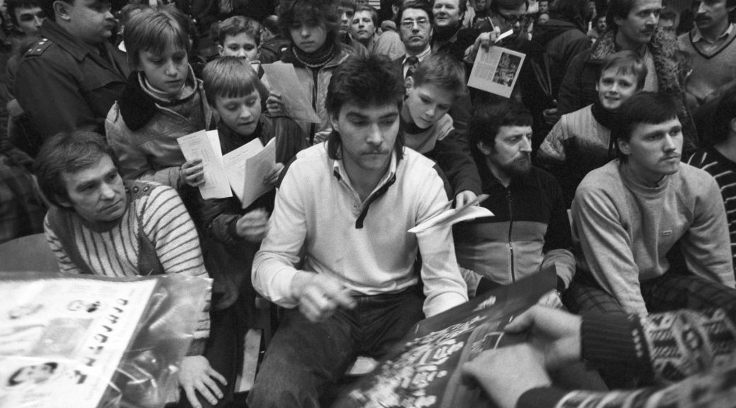 Zalgiris (Lithuania) and USSR national basketball team member Arvydas Sabonis signs autographs.