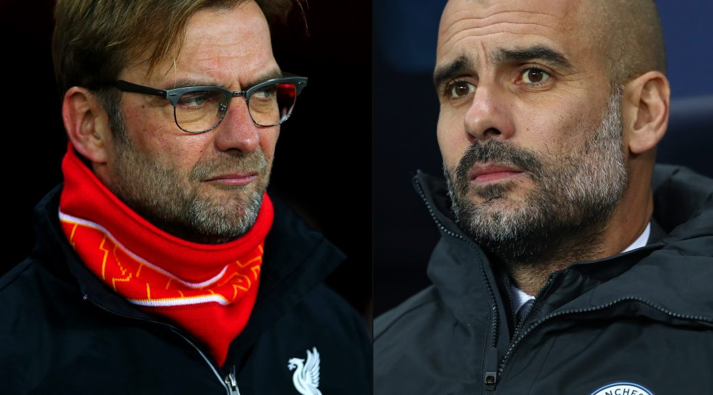 FILE PHOTO (EDITORS NOTE: COMPOSITE OF TWO IMAGES - Image numbers (L) 502929058 and 629845764) In this composite image a comparision has been made between Jurgen Klopp, manager of Liverpool (L) and Josep Guardiola, Manager of Manchester City. Liverpool and Manchester City meet in a Premier League match at Anfleid on December 31, 2016.  ***LEFT IMAGE*** SUNDERLAND, ENGLAND - DECEMBER 30: Jurgen Klopp, manager of Liverpool looks on before the Barclays Premier League match between Sunderland and Liverpool at Stadium of Light on December 30, 2015 in Sunderland, England. (Photo by Ian MacNicol/Getty Images) ***RIGHT IMAGE*** MANCHESTER, ENGLAND - DECEMBER 14: Josep Guardiola, Manager of Manchester City looks on during the Premier League match between Manchester City and Watford at Etihad Stadium on December 14, 2016 in Manchester, England. (Photo by Michael Steele/Getty Images)