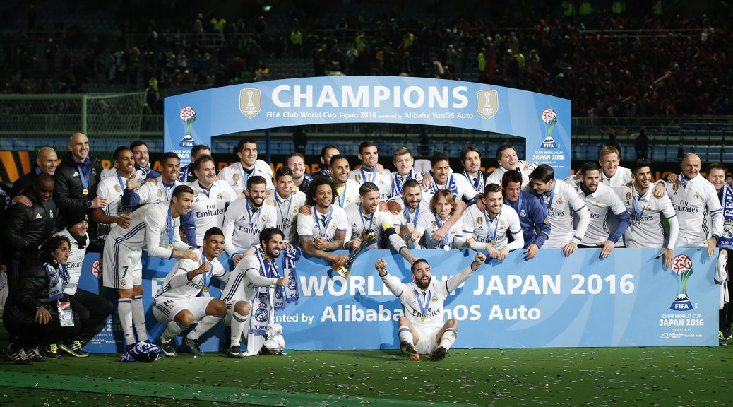 Football Soccer - Real Madrid v Kashima Antlers - FIFA Club World Cup Final - International Stadium Yokohama - Japan , 18/12/16 Real Madrid celebrate winning the FIFA Club World Cup Final with the trophy Reuters / Kim Kyung-Hoon Livepic