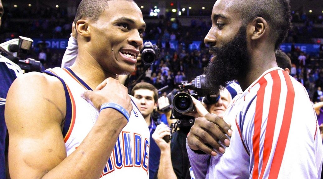 Oklahoma City Thunder guard Russell Westbrook (0) and Houston Rockets guard James Harden, right, talk after their NBA basketball game in Oklahoma City, Wednesday, Nov. 28, 2012. Oklahoma City won 120-98. (AP Photo/Sue Ogrocki)