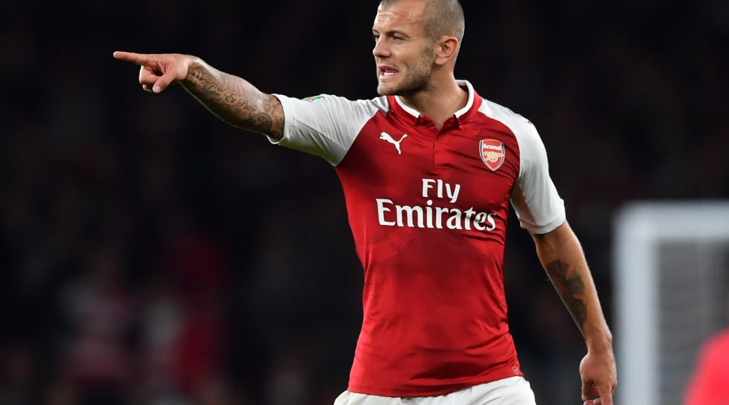 Arsenal's English midfielder Jack Wilshere gestures during the English League Cup third round football match between Arsenal and Doncaster Rovers at The Emirates Stadium in London on September 20, 2017. / AFP PHOTO / Ben STANSALL / RESTRICTED TO EDITORIAL USE. No use with unauthorized audio, video, data, fixture lists, club/league logos or 'live' services. Online in-match use limited to 75 images, no video emulation. No use in betting, games or single club/league/player publications.  /         (Photo credit should read BEN STANSALL/AFP/Getty Images)